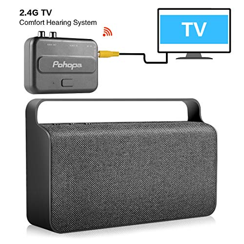 Wireless TV Speaker - Pohopa Portable New TV Soundbox, TV Audio Hearing Assistance with Transmitter 10W Speaker for Smart TV, Hard of Hearing Seniors