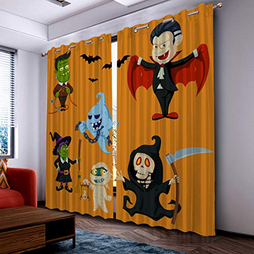 Fantasy Star Curtains for Living Room with Grommet- Halloween Witch Vampire and Zombie Blackout Thermal Insulated Windows Treatment Curtains for Bedroom (2 Panels, 40 x 84 Inch Each Panel)
