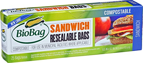Bio Bag Biodegradable Compostable - BioBag Resealable Compostable Sandwich Bags, 25 Count