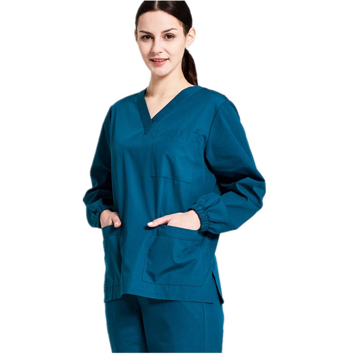 Dark Caribbean XINFU Medical Scurb Sets VNeck Long Sleeve Men and Women Comfortable Work Uniform
