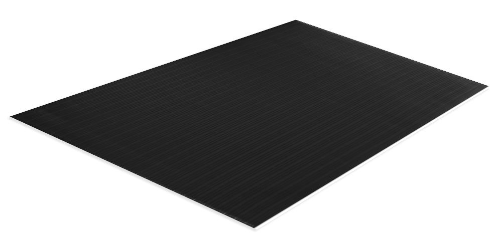 Comfort Step 3/8'' Anti-Fatigue Mat with Ribbed Emboss, Solid Black, 3' x 12'