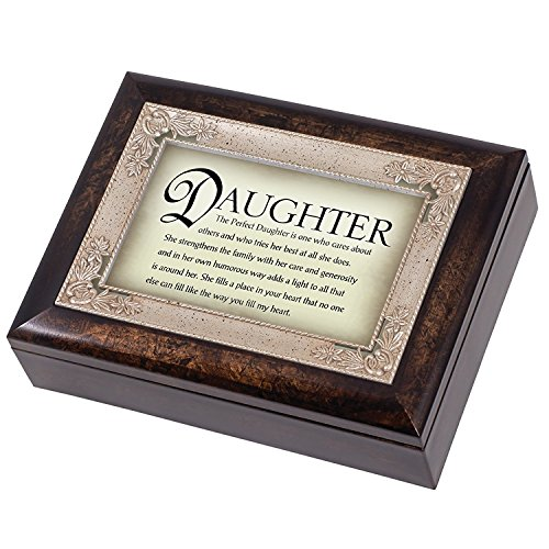 The Perfect Daughter Dark Wood Finish Jewelry Music Box Plays Tune Amazing Grace
