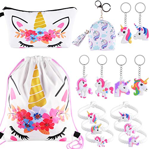 SIQUK 15 Pieces Unicorn Gifts for Girls Unicorn Drawstring Backpack Party Favor ()