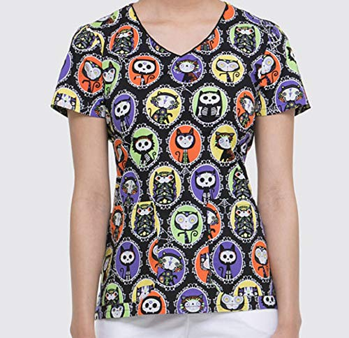 DK700 DIGA S Dickies Haloween Women's V-Neck Top Dia De Los Gatos
