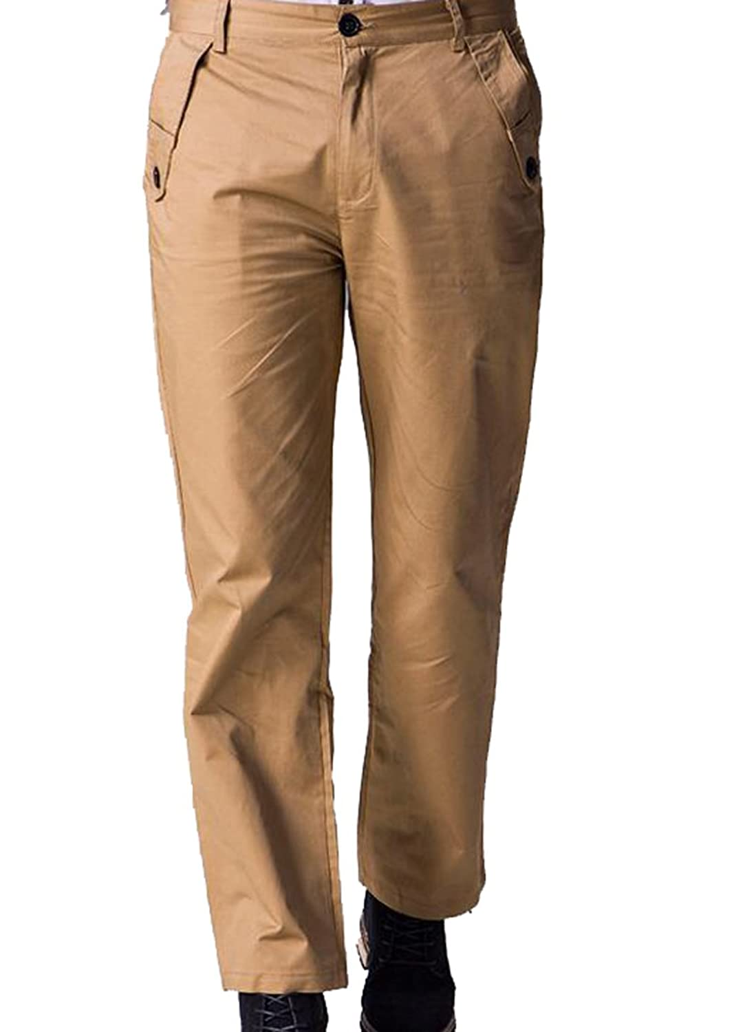 Abetteric Mens Premium Soild Formal Trousers Flat-Front Casual Pants