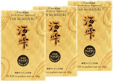 3 Boxes of Umi no Shizuku Fucoidan Powder Pure Brown Seaweed Extract Optimized Immune Support with Green Tea Detox Relieve Constipation