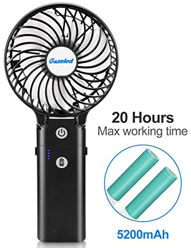 Gazeled Portable Fan, Handheld Fan, Battery Operated Personal Fan, Battery Fan Portable,4'' Rechargable Cooling Hand Fan with 5200mAh Power Bank, 5-20H, 3 Settings, Strong Wind for Travel,Camping.