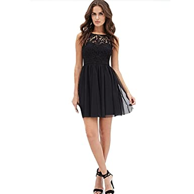 Femme robe dentelle et mousseline de soie décontractée sans manches noir  robe de soirée cocktail femme 8bc475e9dd38