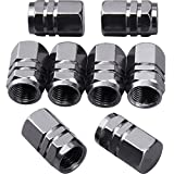 eBoot 8 Pieces Tire Stem Valve Caps Wheel Valve Covers Car Dustproof Tire Cap, Hexagon Shape (Gun-grey)