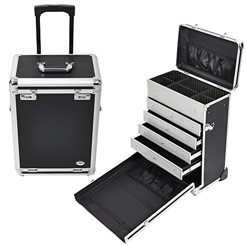 AW Pro Rolling Jewelry Makeup Case w/ Drawers Code Lock Aluminum Portable Display 14x9x20