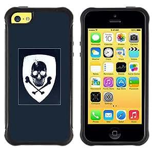 """Pulsar iFace Series Tpu silicona Carcasa Funda Case para Apple iPhone 5C , Escudo de armas Azul Blanco del cráneo del pirata"""""""
