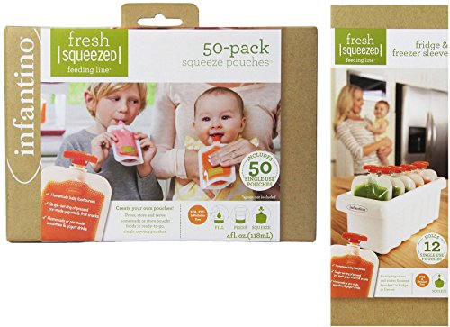 Uk Fridge (INFANTINO BUNDLE - FRIDGE AND FREEZER SLEEVE AND 50 POUCH REFILL PACK - 2 ITEMS SUPPLIED (Dispatched From UK))