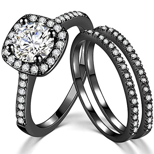 SDT Jewelry Three-in-One Bridal Wedding Engagement Anniversary Statement Eternity Ring Set (Black, 4)