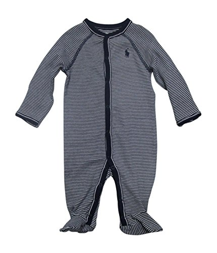 - Ralph Lauren Baby Boys Striped Cotton Jersey Coverall French Navy Multi (nb)