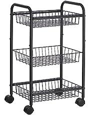SONGMICS Trolley, keukenplank met 3 niveaus, metalen serveerwagen, keukentrolley, met handgrepen, remmen, eenvoudige montage, voor keuken, badkamer, zwart BSC03BK