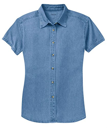 (Joe's USA Ladies Short Sleeve Value Denim Shirt-4XL-Faded Blue)