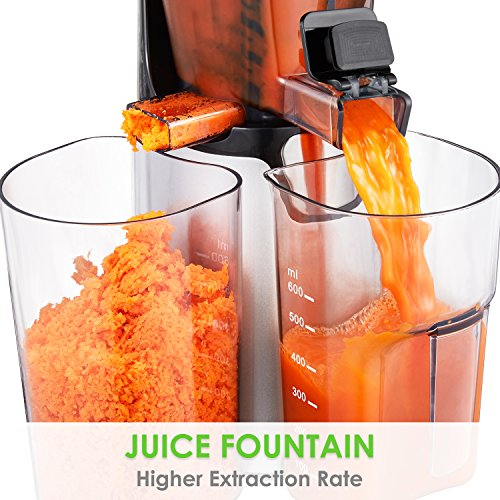 Juicer Aicok Masticating slow Juicer, Juice Extractor with Quite Motor for High Nutrient Fruit ...