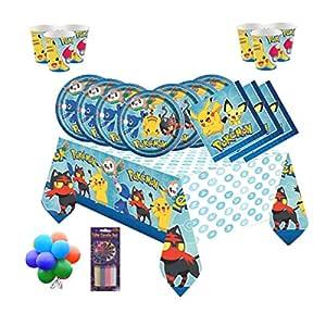 PJ Masks Equipo de Fiesta Infantil de cumpleaños de Pokemon Team para 16 Personas - Globos y Velas gratuitos