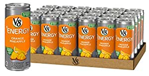 V8 +Energy, Juice Drink with Green Tea, Orange Pineapple, 8 oz. Can (Pack of 24)