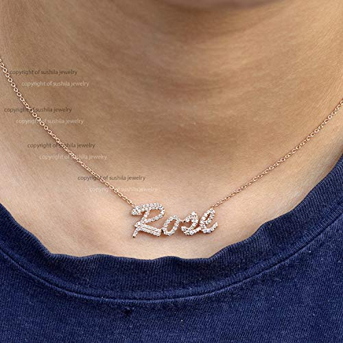 Custom Name Necklace Diamonds Script Name Necklaces in Solid 14K Yellow Gold Handmade Minimalist Personalized Name Jewelry