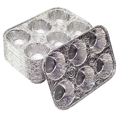 Elite Selection Aluminum Foil Muffin Pans  Reusable and Disposable Muffin foil Pans  Stackable 6 Slot Muffin Trays  Oven & Freezer Safe  20 Piece Set