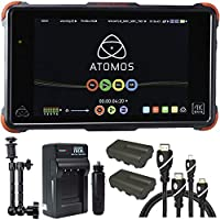 Atomos Ninja Flame 7 Monitor Recorder, Battery, Charger, Caltar 7 Articulating Magic Arm, HDMI A-D Basic 3 Cable and A-C Basic 3 Cable