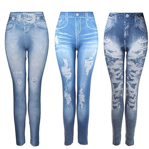 3pcs Women's Meagre Jeans Leggings Denim Stretchy Soft Seamless Yoga Workout Pants (Pack Q)