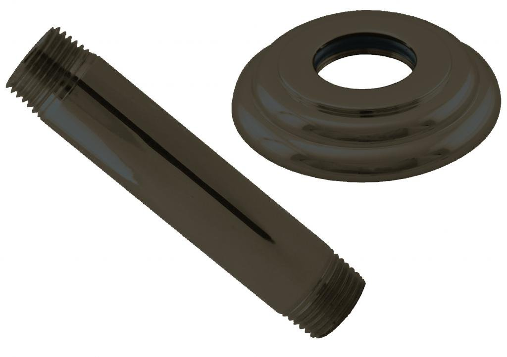 Westbrass 1/2'' IPS x 4'' Ceiling Mounted Shower Arm with Flange, Oil Rubbed Bronze, D3604A-12