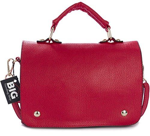 BHBS Bolso Pequeño de Dama para Cruzar con Asa Superior 22x17x2.5 cm (LxAxP) Rojo (LL295)