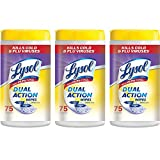 Lysol Dual Action Disinfecting Wipes w. Scrubbing Texture, 225ct (3x75)