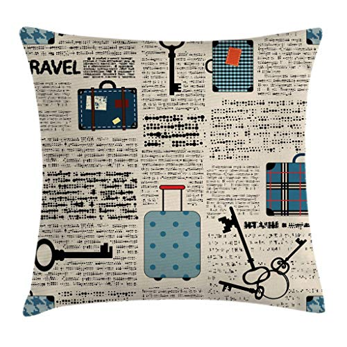 Ambesonne Old Newspaper Decor Throw Pillow Cushion Cover, Retro Style Travel Vacation Theme Vintage Suitcases Keys Dot Text, Decorative Square Accent Pillow Case, 18 X 18 Inches, Cream Blue Black