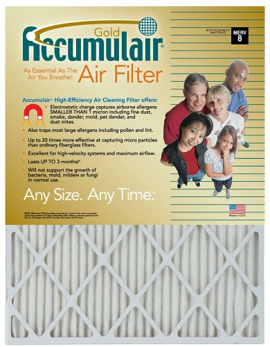21x23x1 (Actual Size) Accumulair Gold Filter MERV 8 4-Pack