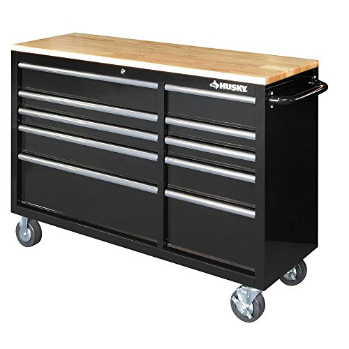 Husky Drawer Heavy-Duty Tool Chest (52 in. 10-Drawer Mobile Workbench with Solid Wood Top, Black) by Husky