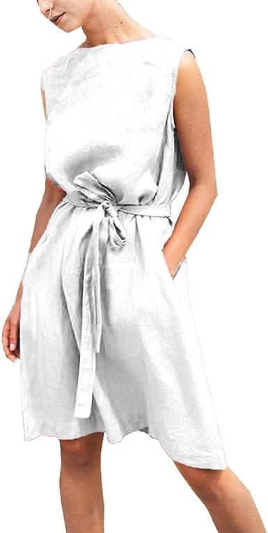 LEEDY 2019 Moda Mujer O-Cuello Sin Mangas Color SóLido Vendaje Cintura AlgodóN Vestido Casual: Amazon.es: Ropa y accesorios
