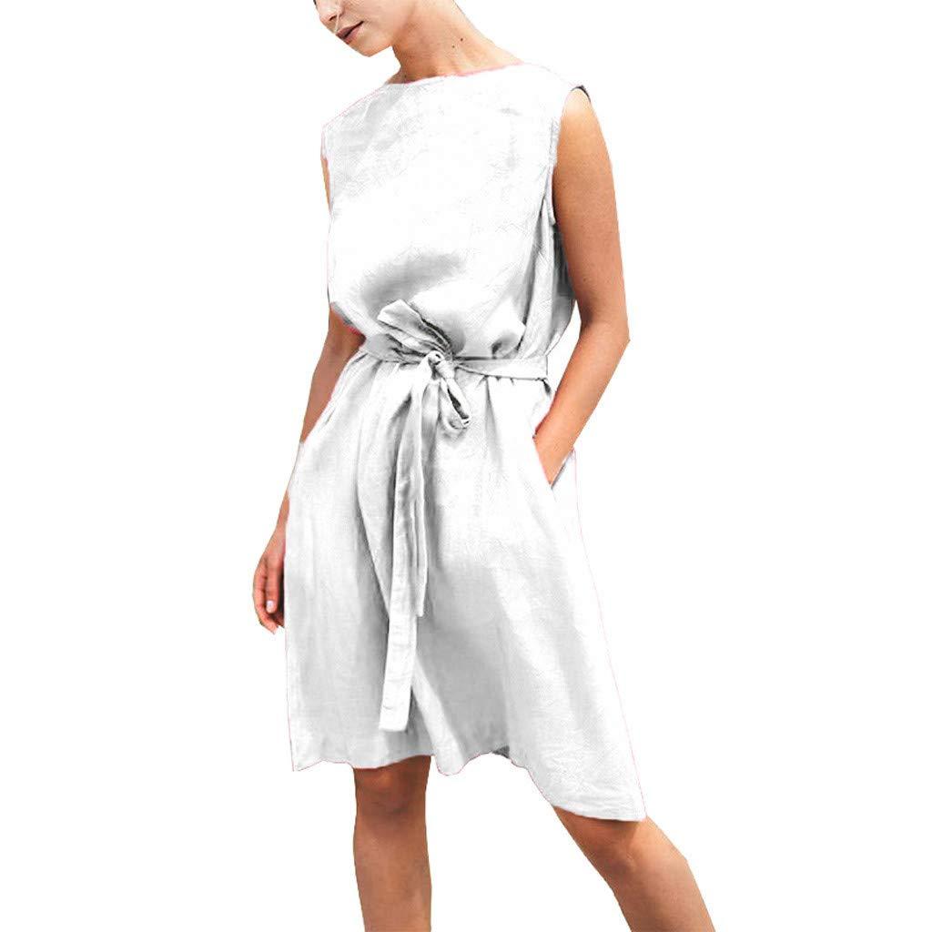 Women's Short Sleeve Dress Loose Casual Dress Front Tie Bandage Cotton Linen Dress Classic Party Dress Size S-XL (M, White) by Sengei