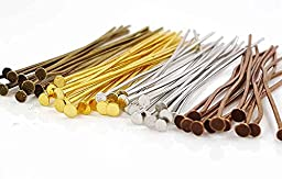 200pc Assorted Mixed Color Flat Head Pins For Jewelry Making- Nickel Free (50mm x 21 gauge)