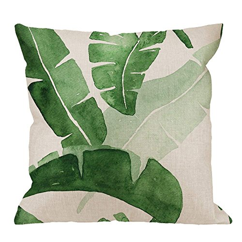 GOOESING Banana Leaf Decorative Watercolor Banana Leaves Green Linen Comfortable Beautiful Throw Pillow Case/Pillow Cover Size 20x20 Inches
