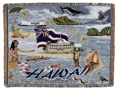 State of Hawaii Afghan Tapestry Throw Blanket 50 x 60 by Simply Home by Simply Home