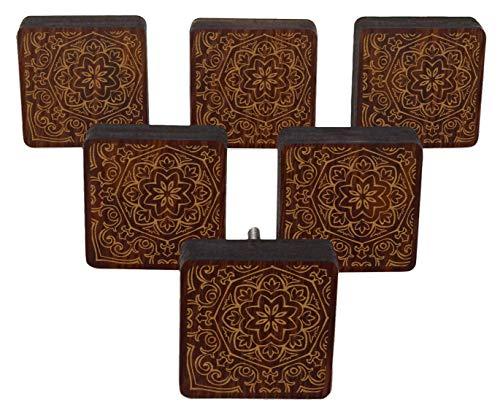 - IBA Indianbeautifulart Brown Mandala Engraved Wooden Wardrobe Knobs Cabinet Drawer Pull 10 Pcs