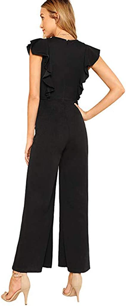 Spbamboo Womens Jumpsuit Romper Womens Solid Color Ruffled Sleeveless Playsuit