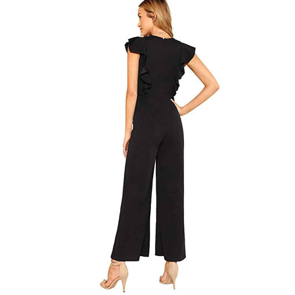 4Clovers Womens Elegant Sleeveless Ruffles Jumpsuits Solid Backless High Waist Wide Leg Long Pant Rompers
