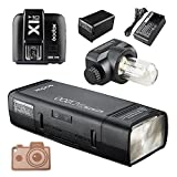 GODOX AD200 TTL 2.4G HSS 1/8000s Pocket Flash Light Double Head 200Ws with 2900mAh Lithium Battery Strobe Flash with GODOX X1T-C Flash Trigger for Canon Camera Flash Lightning Kit