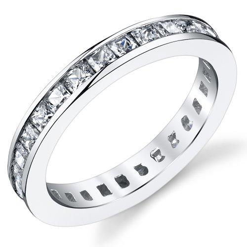 3MM Sterling Silver Princess Cut Cubic Zirconia CZ Wedding Engagement Eternity Band Ring Size ()
