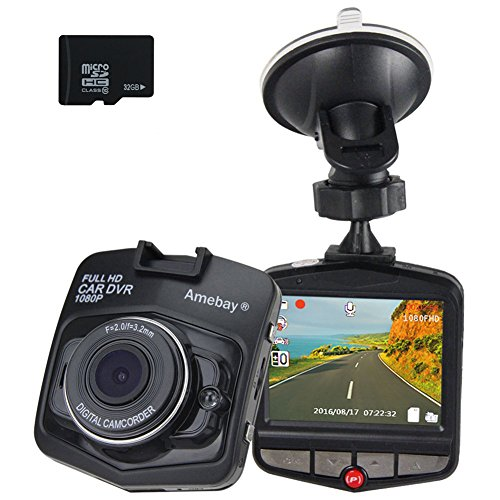 Amebay Car Dash Cam Full HD 1080P Digital Vehicle Camera,170 Wide-Angle View Lens DVR Dashboard Cam Built-in G-Sensor, Loop Recorder with 32GB Micro SD Card