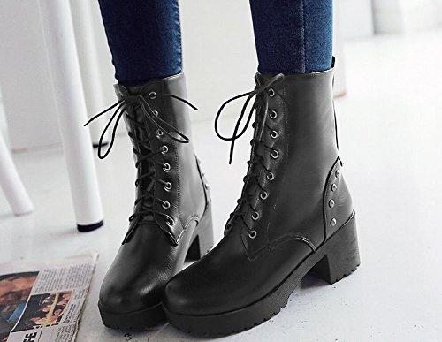 Mee Shoes Damen runde chunky heels Schnürsenkel kurzschaft Stiefel Schwarz
