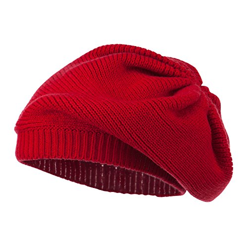 Women's Ribbed Knit Beret - Red OSFM