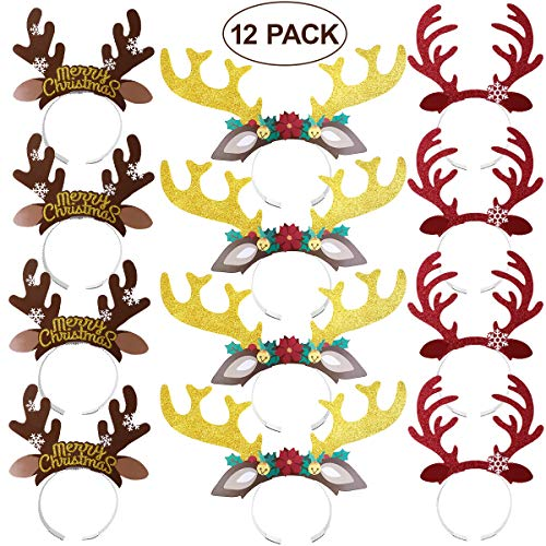 LUOEM Christmas Reindeer Antlers Headband Reindeer Headband with Ears Xmas Headwear Accessories for Christmas Easter Masquerade Cosplay Party Gift 12-Pack