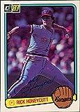 Signed Honeycutt, Rick (Texas Rangers) 1983 Donruss Baseball Card in blue ball point pen. autographed
