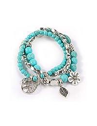 3 PCS Massage Turquoise Beads Bracelets Noverty Charms Elastic Thread Wrapped Bracelet for Women