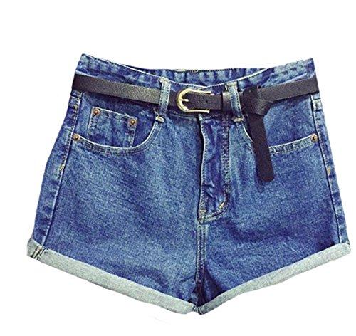 Hathawlyth Women Casual Retro High Waist With Belt Jeans Denim Shorts